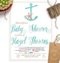 Beach Baby Shower invitation Unisex baby boy by GibbKStudio