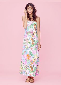 Every Single Piece From The Lilly Pulitzer x Target Collection #refinery29  http://www.refinery29.com/2015/03/84530/lilly-pulitzer-target-collaboration-lookbook#slide-12  Lilly Pulitzer for Target Strapless Maxi Dress - Nosie Posey, $34; Necklace - Gold & Turquoise, $24; Gold Sandals - Starfish, $30, available at Target.
