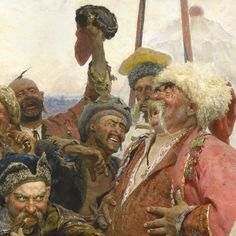 """Detail, Ilya Repin's """"Zaporozhian Cossacks Writing a Letter to the Turkish Sultan""""."""