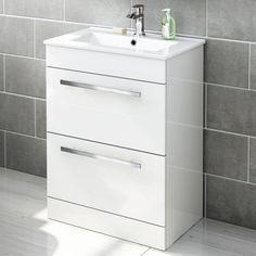 Avon Double Drawer High Gloss White Floor Standing Basin Unit - soak.com
