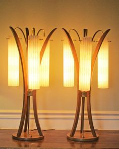 60's Mid Century Danish Modern Teak Lamps German Glass Shades from McModern Goddess on Ruby Lane