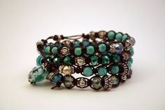 Boho chic macrame bracelet. Dark leather and turquoise accents. Handmade and DIY