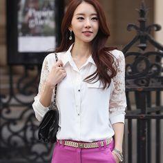 frete grátis 2014 primavera e verão médio- long lace chiffon patchwork camisas, camisa feminina branco US $21.96