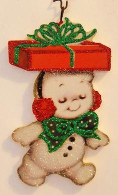 LITTLE SNOWMAN SCAMP w/ GIFT ~ Glittered CHRISTMAS ORNAMENT ~ Vtg Card Img
