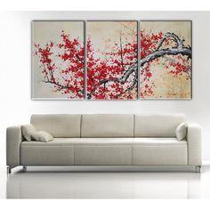 tableau cerisier, tableaux arbre, toile tryptique Asie, peinture tryptique fleurs : Deco Soon