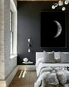 Love concept but would go dark bluish/black with Smokey blue bedding