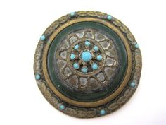 Antique Victorian Brooch - Turquoise and Guilloche Enamel