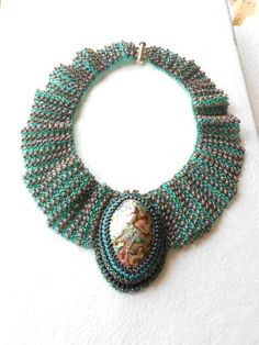 Ruffled Collar with Paua Shell by SharonEdelmanforEPEC on Etsy, $600.00