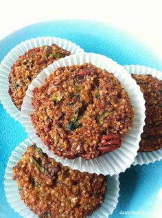 Zucchini Nut Quinoa Muffins *This recipe is gluten free, grain free, high fiber, filling and the perfect Fall Muffin! http://www.damyhealth.com/2012/10/zucchini-nut-quinoa-muffins/