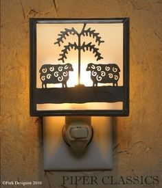 """Our Sheep & Willow Night Light - Black, by Park Designs is a delightful simulation of an historic design. Light up the darkness with this charming night light; includes a 5 watt bulb. 5""""H x 4 1/2""""W x 2""""D."""
