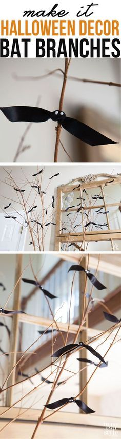 How to make simple Bat Branches for your Halloween Decor.