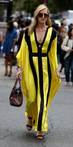 #NYFW Spring 2015 Street | Style Yellow and black kaftan dress.