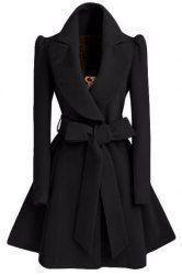 Noble Turn-Down Collar Long Sleeve Pure Color Self Tie Belt Coat Dress For Women in Black | Sammydress.com Mobile