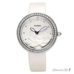 Damen Armbanduhr 3D Lotus Blüte mit Zirkonien silber weiß