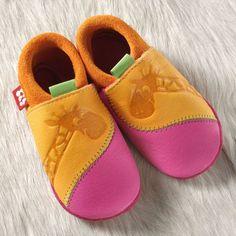 Chaussons en cuir bébé girafe - Pololo