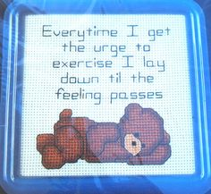 Cross Stitch Kit Little Bear Urge To Exercise by ToppyToppyKnits
