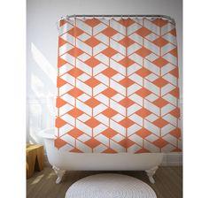 Rhombus Pattern Shower Decor, Graphic Curtain, Bathroom Art, Tangerine Colour