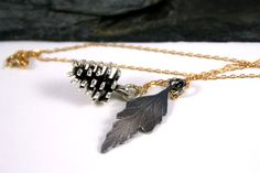 Sterling Pinecone & Fern Leaf 14K GoldFill by Decadence2Jewelry