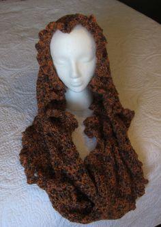 Crochet Cowl,Cowl,Infinity Scarf,Boho,Boho Scarf,Hooded Scarf,Long Infinity Scarf,Womens Fashion,Teen Scarf,Brown,Gift,Designer Cowl,Vintage by Kitkateden on Etsy