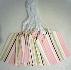 Set of 18 Prestrung--Gift Tags -- baby pink striped. $2.70, via Etsy.