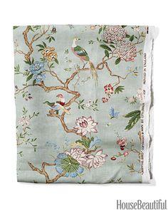 'Oriental Bird' by GP & J Baker, Linen in 'Eau de Nil' - leejofa.com