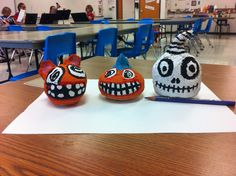 Seneca Inter. School 5th Grade Papier-mâché Pumpkins.
