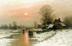 Johann Jungblut (Saarburg (Duitsland) 1860-1912 Düsseldorf) Winterlandschap bij avond met figuren op het ijs - Kunsthandel Simonis en Buunk, Ede (Nederland).