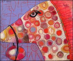 Elke Trittel acrylic collage on canvas 30x25cm