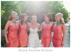 Coral Gowns with turquoise accents by romantic and fun photographer, Silver Feather Studios - North Carolina Wedding Photography & Videography