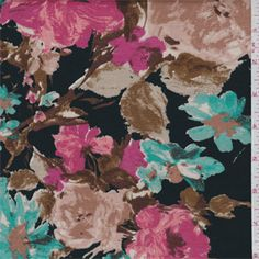 91deedd7cae Black/Pink Floral Ponte de Roma Double Knit - 37648 -   Discount By The