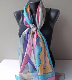 Handmade silk scarf Waves of color Art.327 Paint by MarijanaSilk