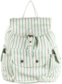Super cute white denim backpack with mint green stripes - Topshop