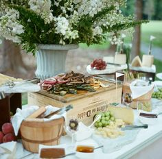Antipasta and cheese display by Tara Guerard Soiree and Cru catering Cheese Board Display, Food Truck Catering, Catering Menu, Food Trucks, Cheese Table, Cheese Bar, Cheese Platters, Appetizer Display, Party Food Bars