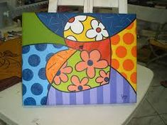 Resultado de imagen para romero britto imagenes Colorful Paintings, Easy Paintings, Americana Paint, Mosaic Madness, Mom Tattoos, Country Art, Collage Art, Wood Crafts, Painted Furniture