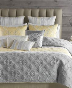 Bryan Keith Bedding, Tango 9 Piece Comforter Sets -grey and yellow with texture