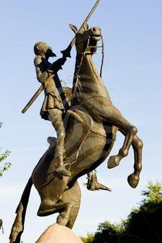 statue of Don Quijote, Campo de Criptana, Castile-La Mancha, Spain English Frases, Man Of La Mancha, Dom Quixote, Don Miguel, Equestrian Statue, Famous Monuments, Centenario, Chivalry, Tourist Spots
