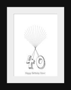 40th Birthday Fingerprint B Handmade Cards Birthday 40th