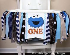 Cookie Monster 1st Birthday Highchair Banner, Sesame Street Highchair banner, 1st Birthday Boy, 1st Birthday Girl, Cake Smash Photo prop