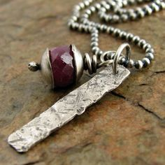 Faceted red ruby necklace sterling silver bar. Rustic by organikx, $56.00
