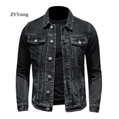 Denim Shirt Men, Denim Jacket Men, Spring Fashion, Autumn Fashion, Black Denim, Single Breasted, Coats, Mens Fashion, Pilot