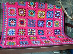 Molly  Pink Granny Square Blanket Afghan Gorgeous by Thesunroomuk, £100.00