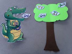 Teasing Mr Alligator, letters swinging on the tree! Amazing Action Alphabet has fantastic letter and sound review ideas using their muli sensory teaching method.  See Hear Do Company products are fantastic for Stay at Home Moms (SAHM) or preschool teachers wanting to teach children the easy way! letter | sounds | teaching | preschooler | books | review games | activities #amazingactionalpabet #teachkids #review