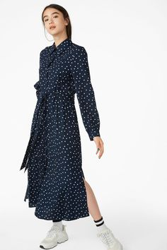 2718e5abddad Belted shirt dress - Blue with white dots - Dresses