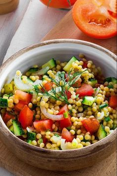 Pearl Couscous Recipes, Pearl Couscous Salad, Israeli Couscous Salad, Easy Salads, Healthy Salads, Healthy Eats, Lunch Recipes, Vegetarian Recipes, Dinner Recipes