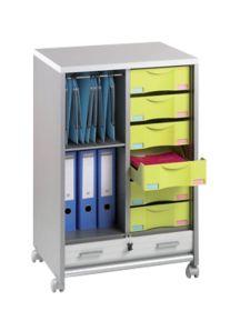 Desserte mobile personnalisable corps aluminium et rideau blanc L60 x H90 x P46 cm par Office Depot