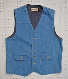 Retro Light Blue Denim Levi's Panatela Sportswear Button Up Vest -- Perfect Vintage Condition! by HandsomePeteShop on Etsy