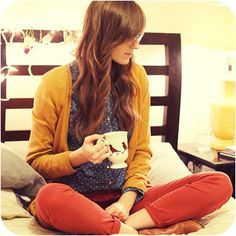 I love the polka dots with the yellow and red <3 Also, the mug. Adorable.