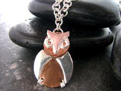 Items similar to Silver and Copper Owl Pendant with two chain choices - Upcycled Recycled Repurposed on Etsy Owl Pendant, Washer Necklace, Upcycle, Copper, Necklaces, Chain, Rings, Silver, Etsy