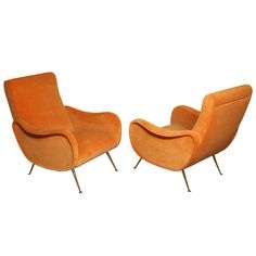 Exquisite sculptural Italian armchairs, c1950s