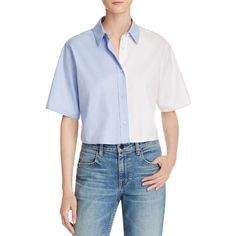 T by Alexander Wang Bicolor Cropped Button Down Shirt (995 SAR) ❤ liked on Polyvore featuring tops, button up shirts, blue crop top, blue button down shirt, button down shirts and crop shirt